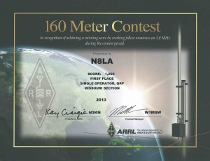 Lou Axeman N8LA, ARRL 160M Contest - First Place Single Operator, QRP Missouri Section